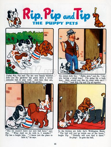 Rip, Pip and Tip. Comic strip from Jack and Jill Book 1955.