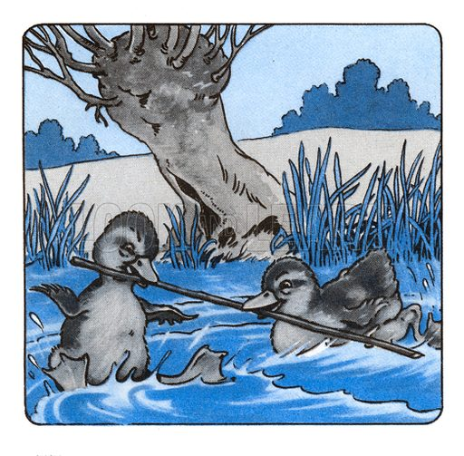 Dennis and Doris, the Baby Ducklings. Comic strip from Jack and Jill Book 1956.