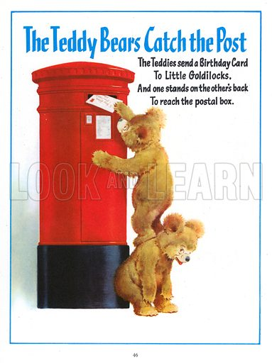 The Teddy Bears Catch the Post. Illustration from Jack and Jill Book 1957.