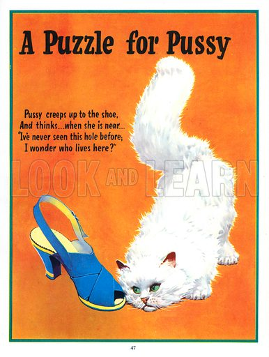 A Puzzle for Pussy. Illustration from Jack and Jill Book 1957.