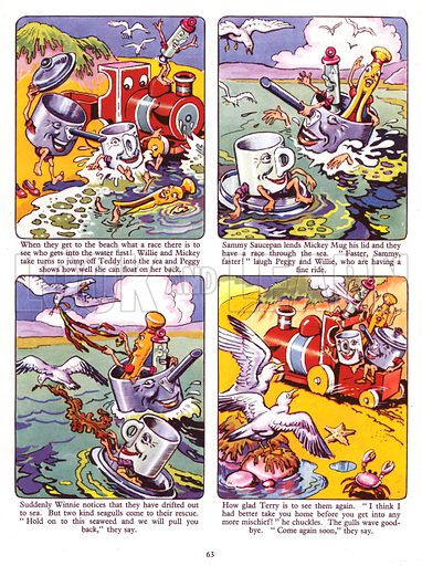 Winnie Peg's Trip to the Seaside. Comic strip from Jack and Jill Book 1957.
