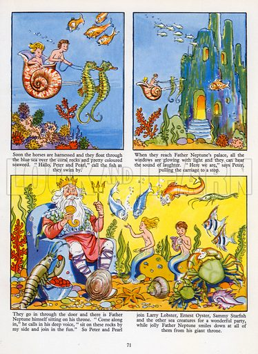 Peter and Pearl, the Merbabies. Comic strip from Jack and Jill Book 1957.