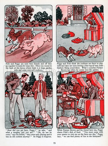 Peggy the Piglet. Comic strip from Jack and Jill Book 1957.