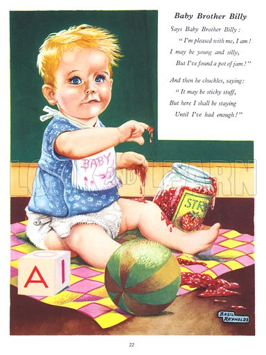 Baby Brother Billy. Illustration from Jack and Jill Annual Book 1958.