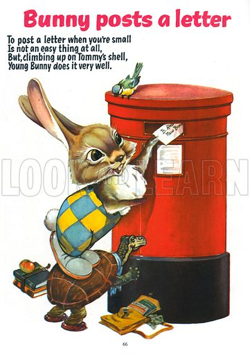 Bunny Posts a Letter. Illustration from Jack and Jill Annual Book 1958.
