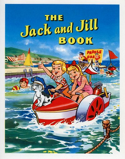 Jack and Jill Annual Book 1960 Title Page. Jack, Jill and Patch in a paddle boat.