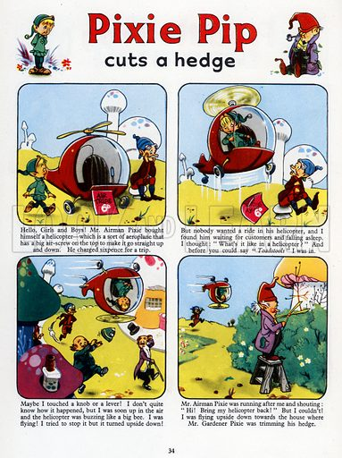Pixie Pip Cuts a Hedge. Comic strip from Jack and Jill Annual Book 1960.