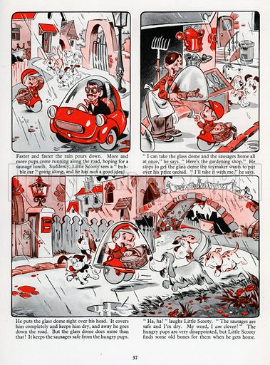 Little Scooty Brings the Sausages Home. Comic strip from Jack and Jill Annual Book 1960.
