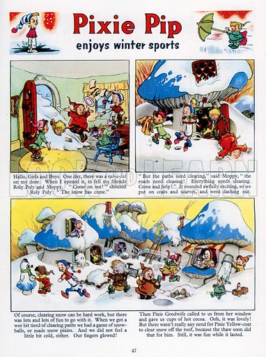 Pixie Pip Enjoys Winter Sports. Comic strip from Jack and Jill Annual Book 1960.