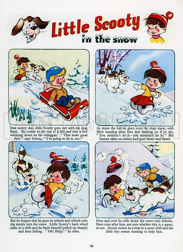 Little Scooty in the Snow. Comic strip from Jack and Jill Annual Book 1960.