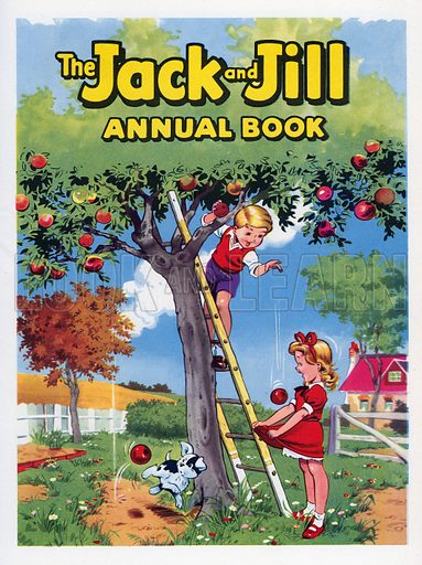Jack and Jill Annual Book 1961 Title Page. Jack and Jill gathering apples.