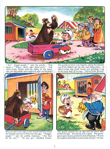Little Scooty and His Bananas. Comic strip from Jack and Jill Annual 1961.