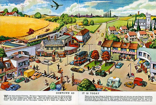 Our Town as it is Today. Illustration from Jack and Jill Book 1964.