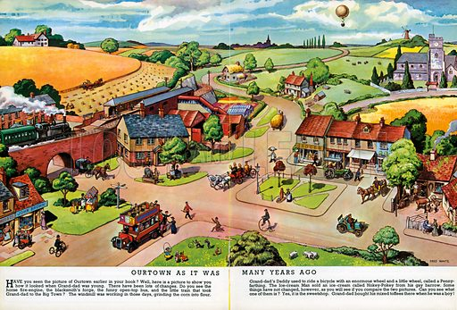 Our Town as it was Many Years Ago. Illustration from Jack and Jill Book 1964.
