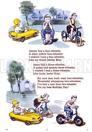 Johnny Had a Four-Wheeler. Illustrations from Jack and Jill Book 1967.