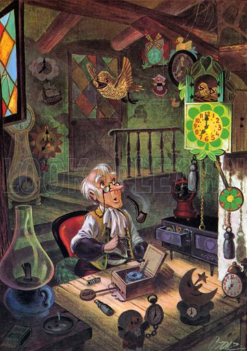 The First Cuckoo Clock. Story illustration from Jack and Jill Book 1969.