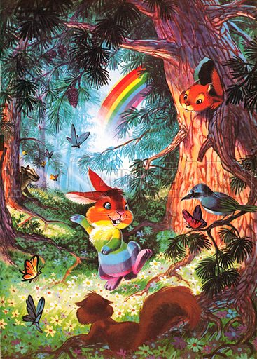 The Rainbow-Coloured Rabbit. Story illustration from Jack and Jill Book 1969.
