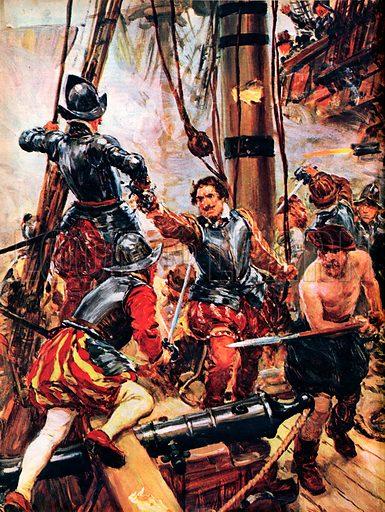 picture, Sir Richard Grenville battles the Spanish fleet