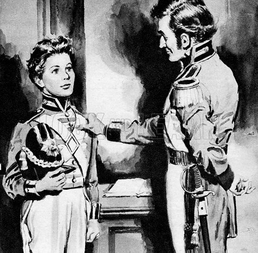 A Locket to Adventure. Illustration from an adaptation of the novel by C. M. Nelson about a young boy who sails to Portugal with the English army under General Wellesley to fight against Napoleon.