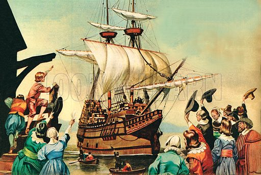 Departure of the Pilgrim Fathers from Plymouth.
