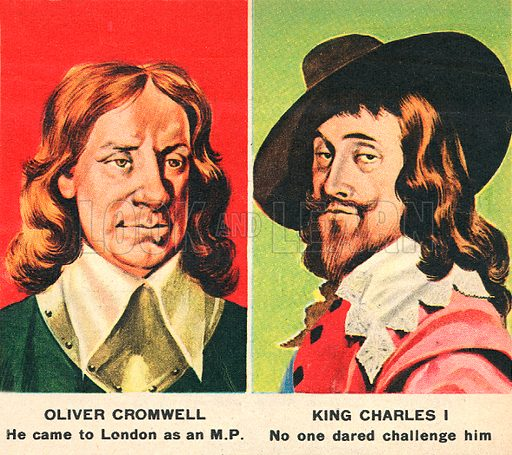 Oliver Cromwell and King Charles I.