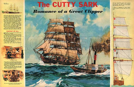 The Cutty Sark: Romance of a Great Clipper. Once one of the fastest ships afloat, now to be found at Greenwich.