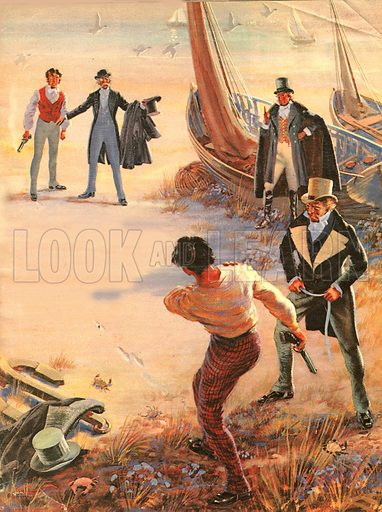 """Phineas Finn, the battling M.P., from the novel by Anthony Trollope. """"Finn staggered back, a bullet in his right shoulder. 'I'm not finished,' he shouted, clutching the wound. 'I can still shoot just as well with my left hand...'""""."""