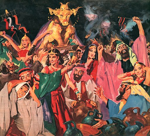 The Ten Terrible Plagues. While Moses was away on Mount Sinai for forty days and forty nights the Hebrews, his followers, turned away from God. They made themselves a golden calf and worshipped it.