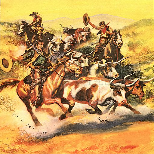 "The Fight for the Wild West: The Great Train Robbers. The cowboys -- most of them honest, hard-working men -- played a major role in the West's story. Cattle driving was on a great scale. In 1867, 38,000 head of cattle were driven up from Texas to Abilene in Kansas, for the train journey to America's eastern states.""."