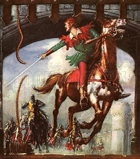"Robin Hood the Magnificent. ""Dozens of stories have been told of how Robin Hood outwitted the Sheriff of Nottingham. Here he is escaping from Nottingham Castle.""."