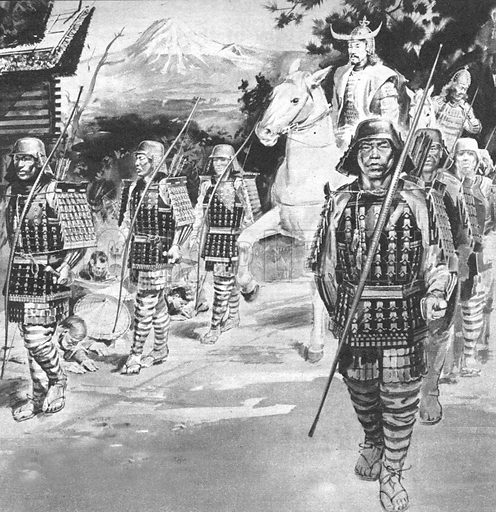 "Warrior Knights of the Rising Sun. ""Once a land of warriors, Japan today is one of the greatest trading nations in the world.""."