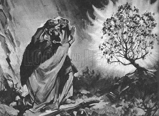 "Stories from the Bible: A Voice from the Fire. ""Moses was astonished when he saw the blazing bush. Flames were covering it -- yet it was not burning away.""."