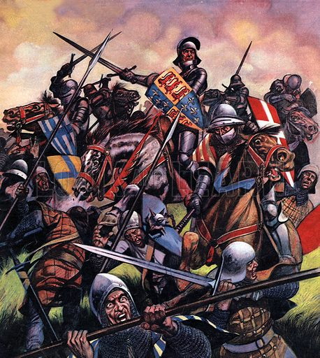 """Into Battle: They Fought for Enland's Crown. The Battle of Bosworth -- """"The king charged towards the centre of the battle, wielding his sword with all his might.""""."""