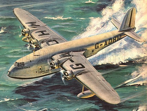 """Triumph over the Atlantic. """"Through a dark sky without stars the lonely flying boat headed due west. For the four airmen aboard it was New York -- or bust!""""."""