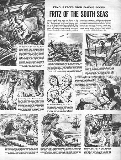 Famous Faces from Famous Books: Fritz of the South Seas, from the novel Swiss Family Robinson.