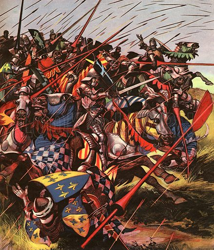 "Into Battle: Agincourt -- The Impossible Victory. ""Between two woods in the north of France, ten thousand exhausted Englishmen faced a French army four times bigger. The French had all the armour and all the food -- the English, only a dynamic, determined king to lead them...""."