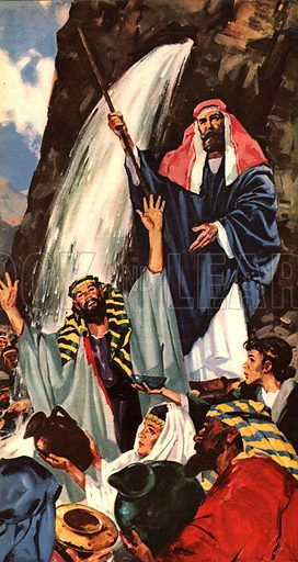 """The Books of the Bible: Hunt for the Promised Land. """"When Moses' followers started to complain about the lack of water in the desert, God told Moses that he could get water by tapping a rock twice with his rod.""""."""
