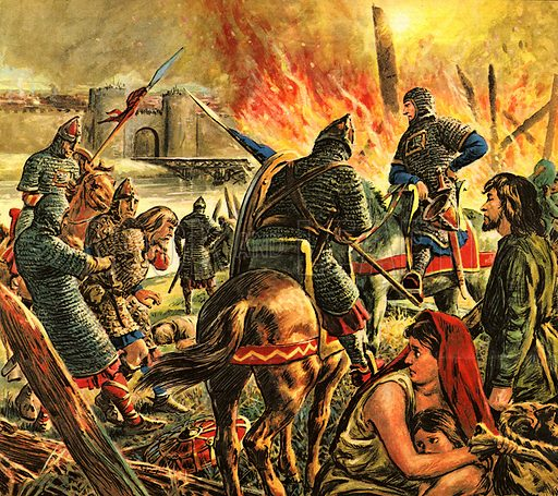 "The Story of Our Capital: The Conqueror Comes to London. ""Arriving at the Saxon city, Duke William marched his army round it, burning and destroying the countryside. Then he built a camp nearby -- and settled down to wait.""."