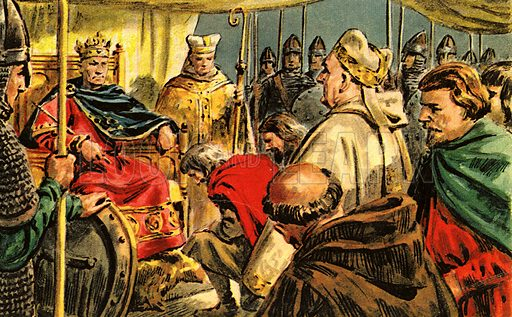 """The Story of Our Capital: The Conqueror Comes to London. """"Arriving at the Saxon city, Duke William marched his army round it, burning and destroying the countryside. Then he built a camp nearby -- and settled down to wait.""""."""