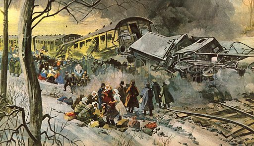 Cover, with picture of Russian railway disaster.