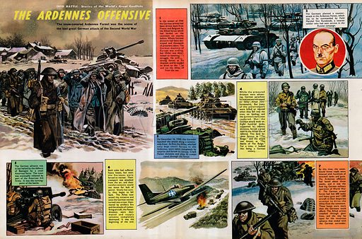 Into Battle: The Ardennes Offensive of the Second World War; Germany; Allies; Hitler; Panzer; tanks; Bastogne; Field Marshal Von Rundstedt; Battle of the Bulge; aircraft; aeroplanes; tanks; trucks.