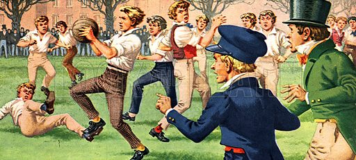 """The 'Foul' That Started Rugby Football. """"A straight kick would have won the game, but the young Warwickshire forward calmly picked up the ball -- and a new game was born.""""."""