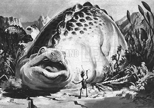 The First Men in the Moon: The Crawling Terror, illustration from the novel by H. G. Wells.