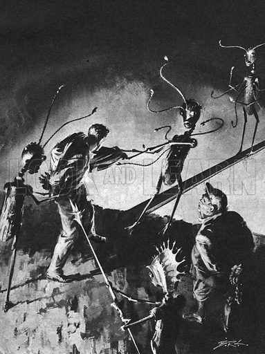 The First Men in the Moon: The Bridge of Fear, illustration from the novel by H. G. Wells.