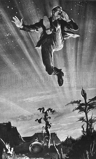 The First Men in the Moon: Last Chance to Escape, illustration from the novel by H. G. Wells.
