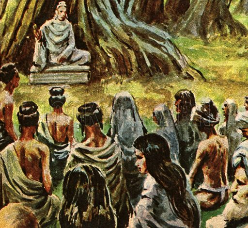 """Man and His Faith: Rich Prince Who Became the Buddha -- """"Wealth, riches and a fine young family -- Prince Gautama had all these. But in one night he renounced all his possessions and, dressed like a beggar, set out to solve the mystery of life on Earth.""""."""
