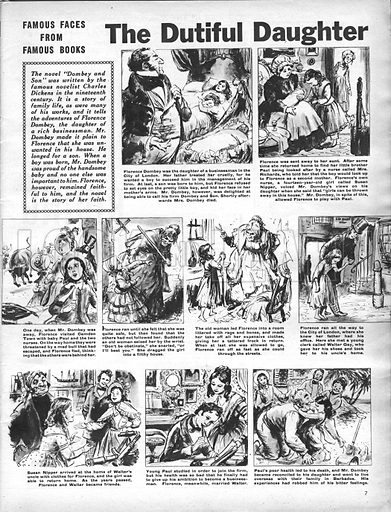 Famous Faces from Famous Books: The Dutiful Daughter, from Dombey and Son by Charles Dickens.