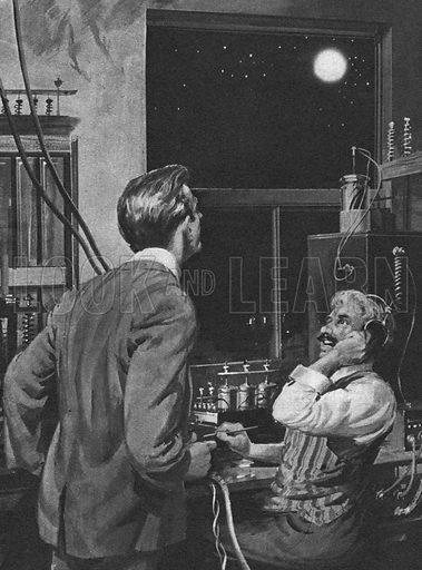 The First Men in the Moon: Strange Messages from Space, illustration from the novel by H. G. Wells.