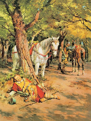 """A Pageant of Kings: Mystery in the Forest. """"Who killed the King? They found William Rufus in the New Forest with an arrow in his chest. Was it a hunting accident... or was it murder? Professionally re-touched image."""