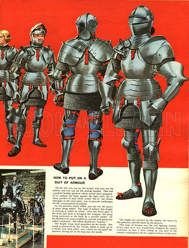 Focus on the Tower of London -- the main illustration shows how a suit of armour is put on.